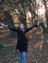 throwing leaves in Victoria Park